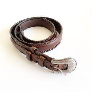 Leather Belt Dark Brown Silver Etched Buckle Sz 38